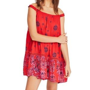 Free people floral print sleeveless red dress